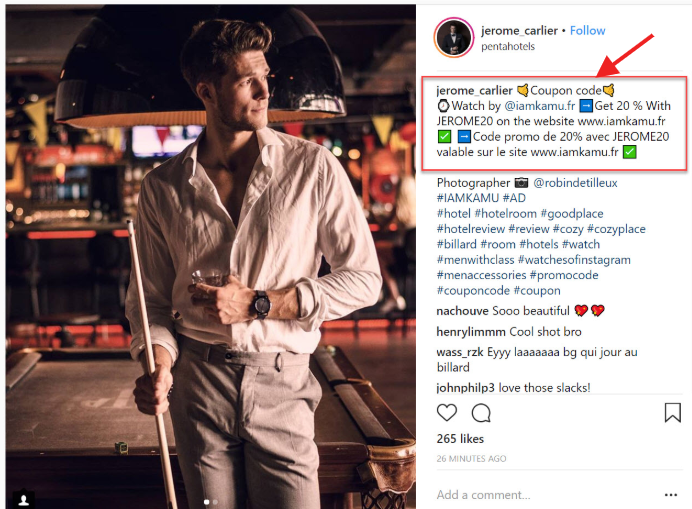 Instagram-Coupon-codes-example-for-affiliate-marketing