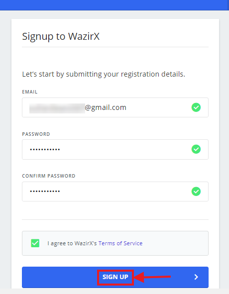 Create account - fill details