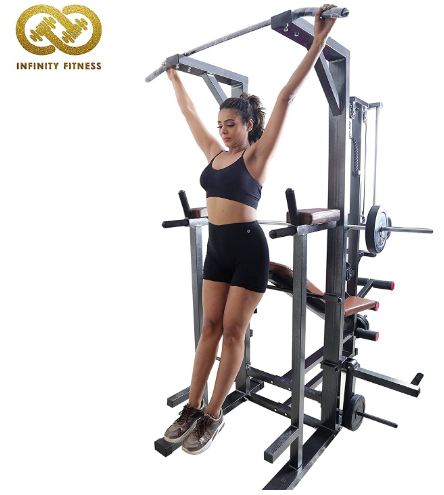 Infinity Fitness ABS Tower With Ground Pully Handle and Gym Bench