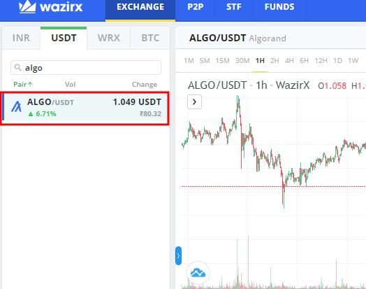 WazirX- Buy Algo coin