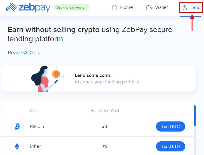Zebpay Lend